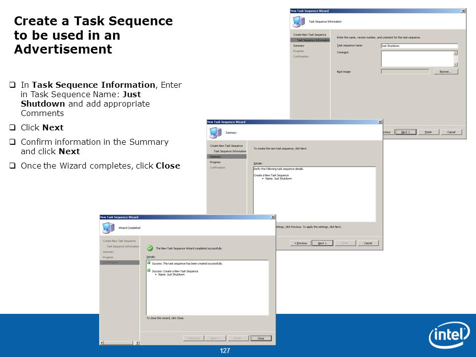 Create a Task Sequence to be used in an Advertisement