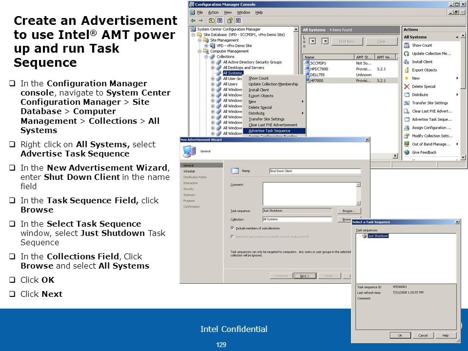 Create an Advertisement to use Intel® AMT power up and run Task Sequence