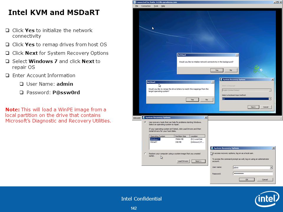 Intel KVM and MSDaRT Click Yes to initialize the network connectivity