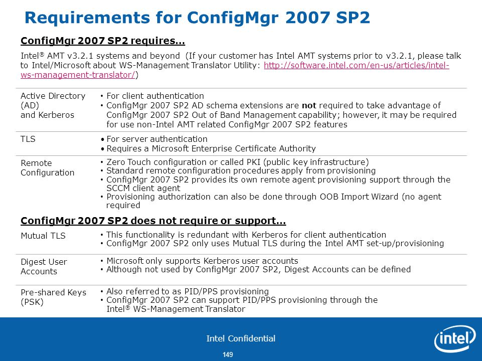 Requirements for ConfigMgr 2007 SP2