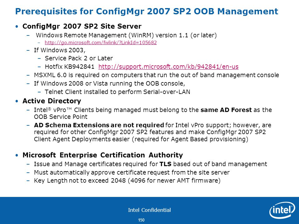Prerequisites for ConfigMgr 2007 SP2 OOB Management