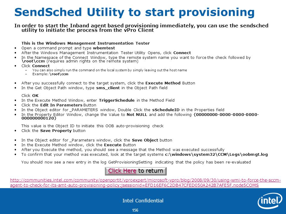 SendSched Utility to start provisioning