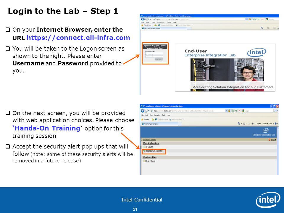 Login to the Lab – Step 1 On your Internet Browser, enter the URL https://connect.eil-infra.com.