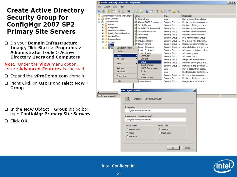 Create Active Directory Security Group for ConfigMgr 2007 SP2 Primary Site Servers
