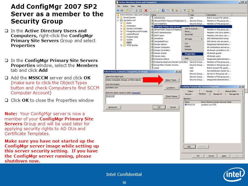 Add ConfigMgr 2007 SP2 Server as a member to the Security Group