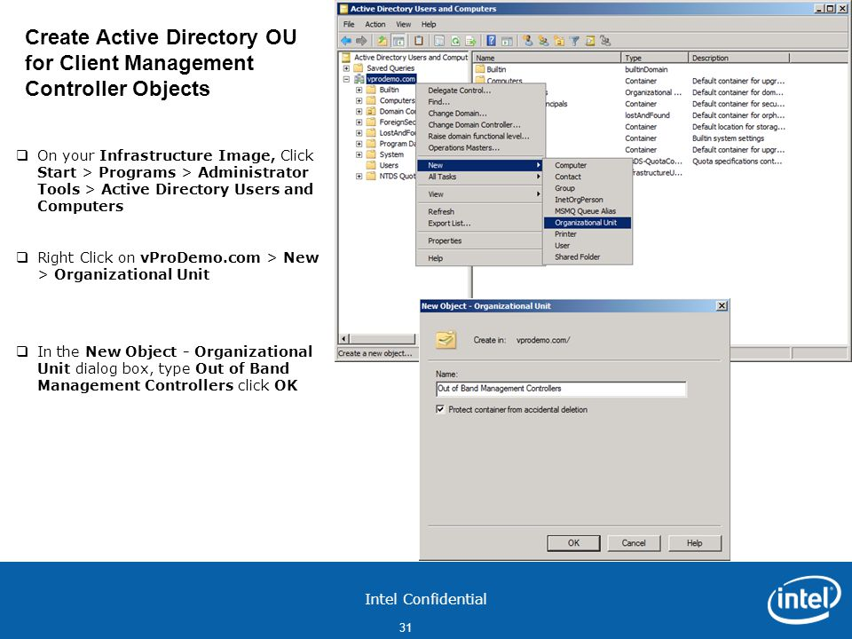 Create Active Directory OU for Client Management Controller Objects