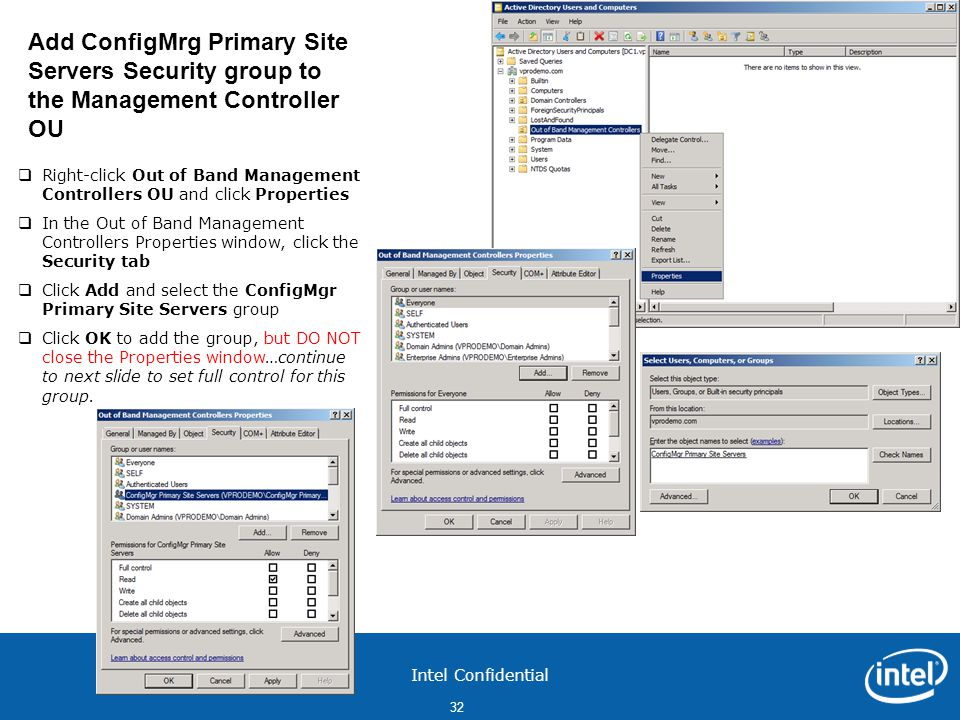 Add ConfigMrg Primary Site Servers Security group to the Management Controller OU