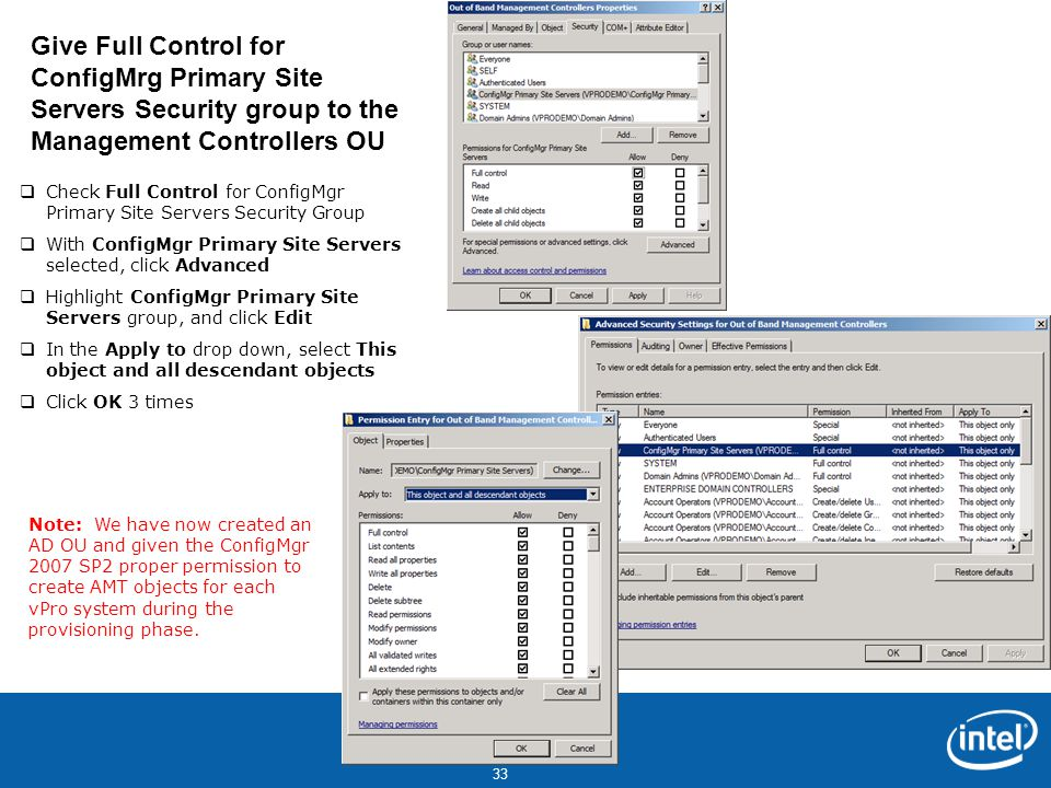 Give Full Control for ConfigMrg Primary Site Servers Security group to the Management Controllers OU