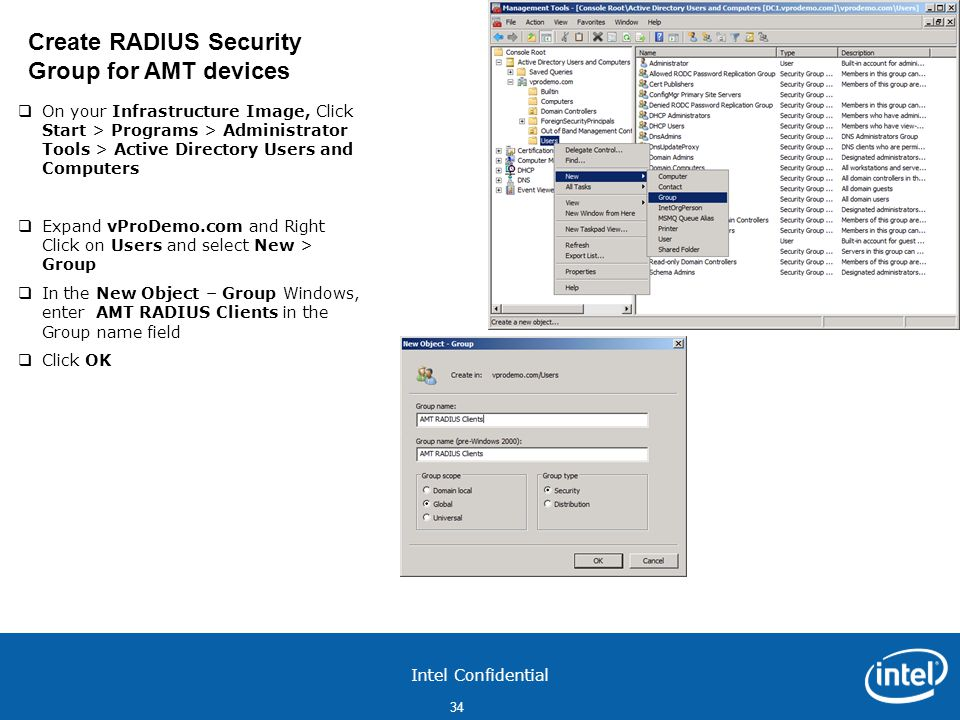 Create RADIUS Security Group for AMT devices