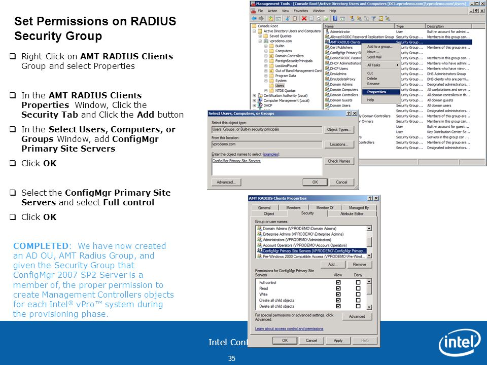 Set Permissions on RADIUS Security Group