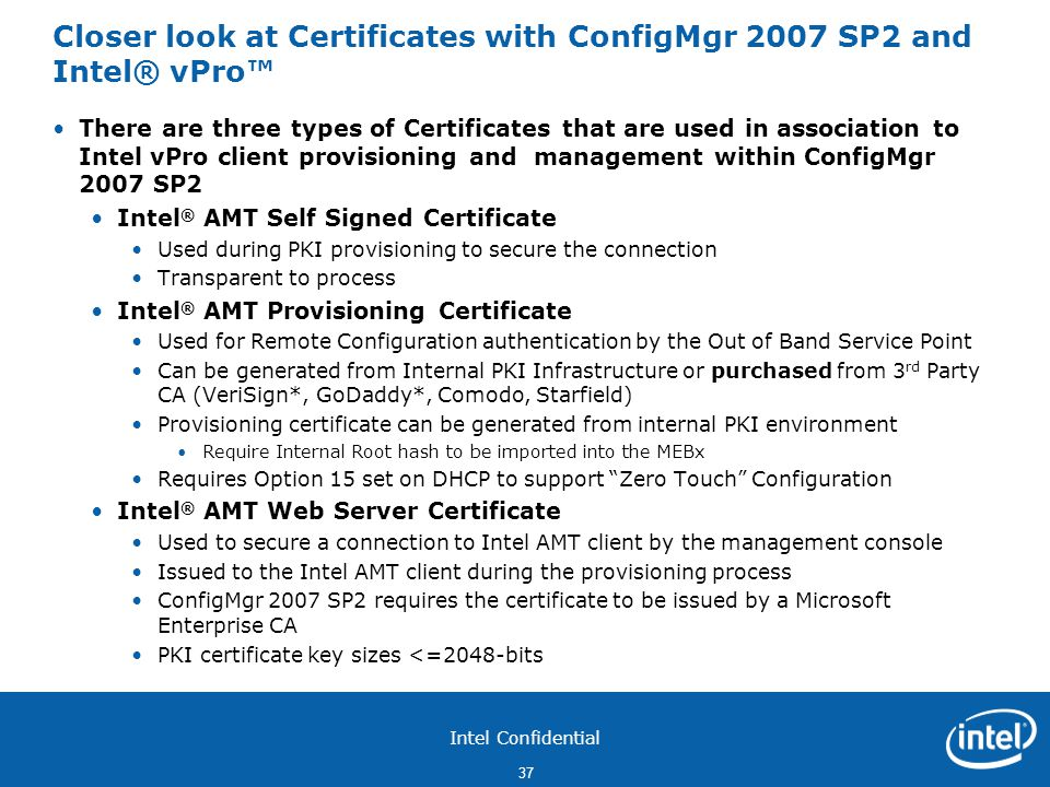Closer look at Certificates with ConfigMgr 2007 SP2 and Intel® vPro™