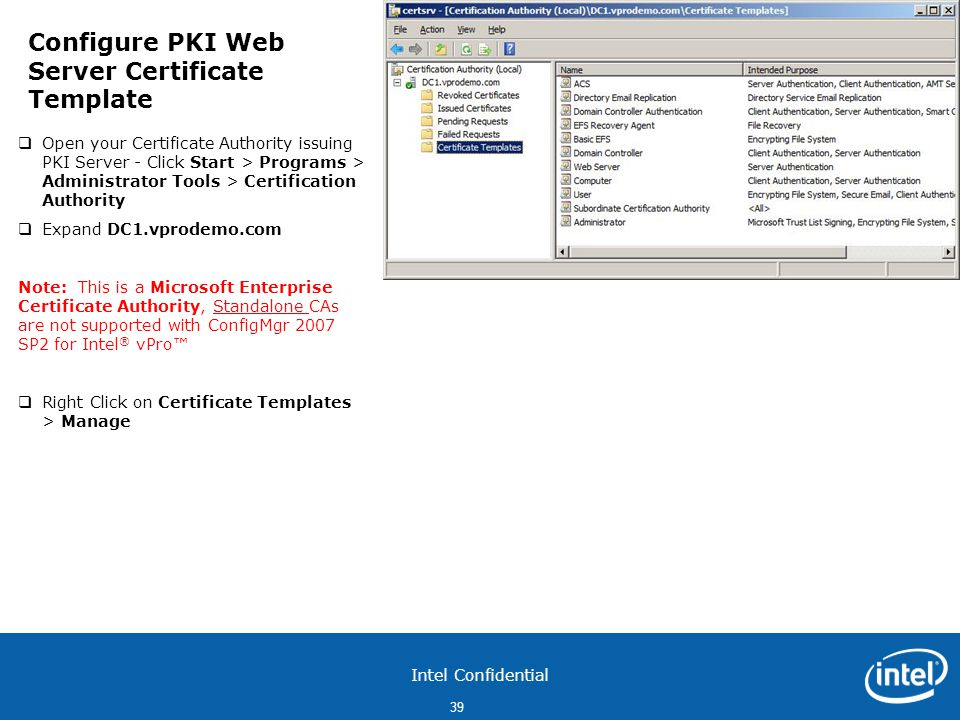 Configure PKI Web Server Certificate Template