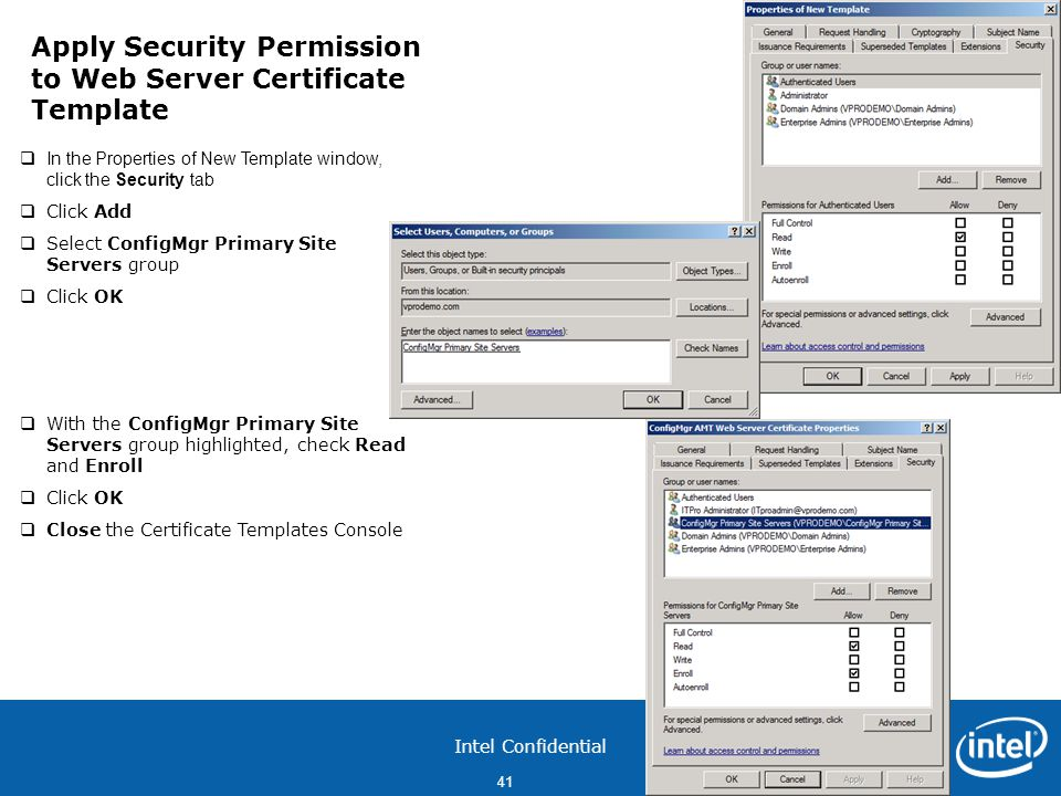 Apply Security Permission to Web Server Certificate Template