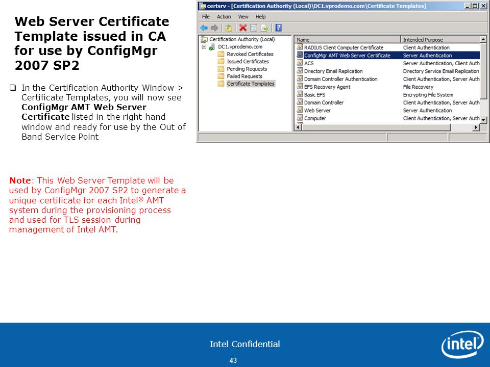 Web Server Certificate Template issued in CA for use by ConfigMgr 2007 SP2