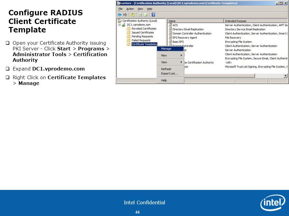 Configure RADIUS Client Certificate Template