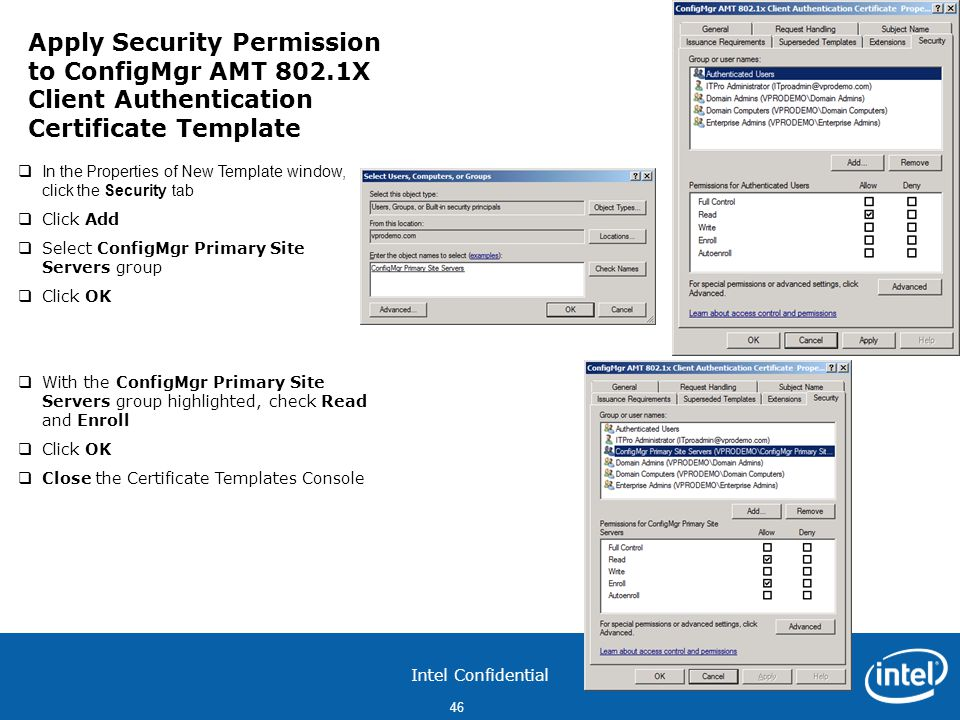 Apply Security Permission to ConfigMgr AMT 802