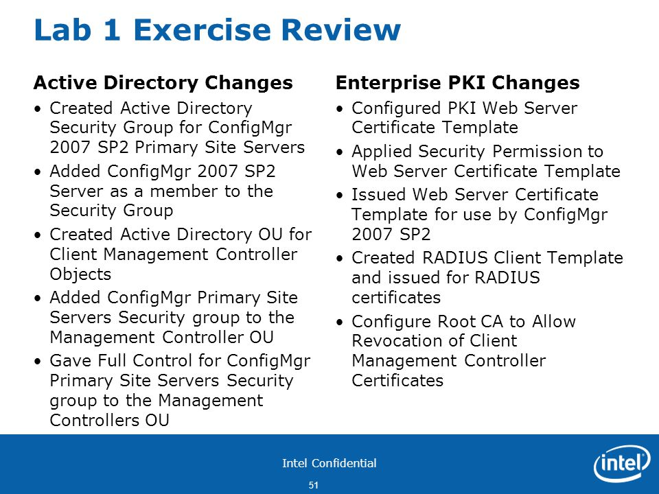 Lab 1 Exercise Review Active Directory Changes Enterprise PKI Changes