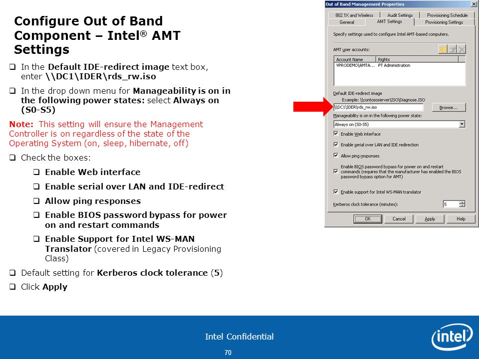 Configure Out of Band Component – Intel® AMT Settings