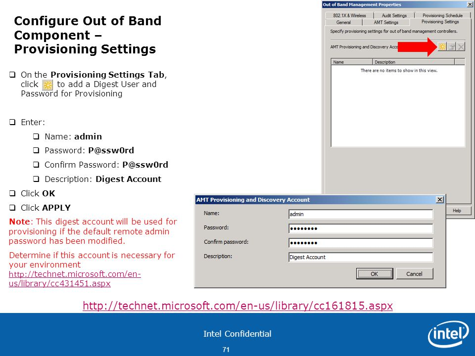 Configure Out of Band Component – Provisioning Settings