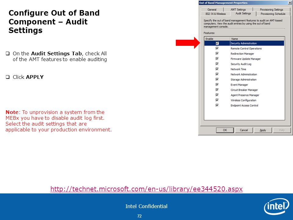 Configure Out of Band Component – Audit Settings