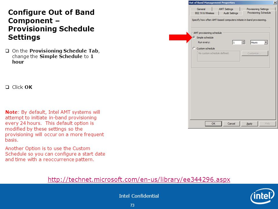 Configure Out of Band Component – Provisioning Schedule Settings