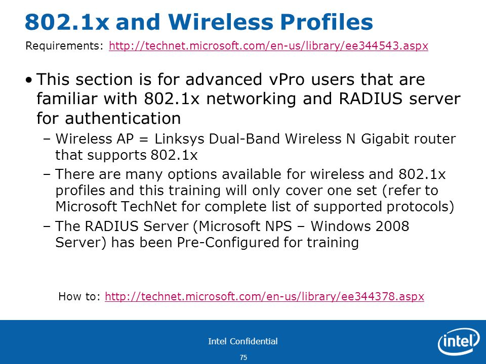 802.1x and Wireless Profiles
