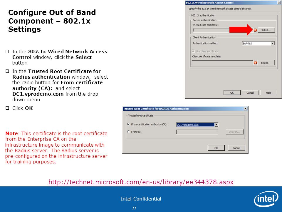 Configure Out of Band Component – 802.1x Settings