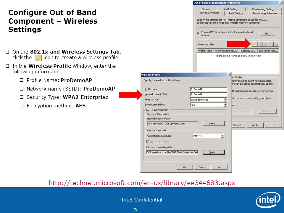 Configure Out of Band Component – Wireless Settings