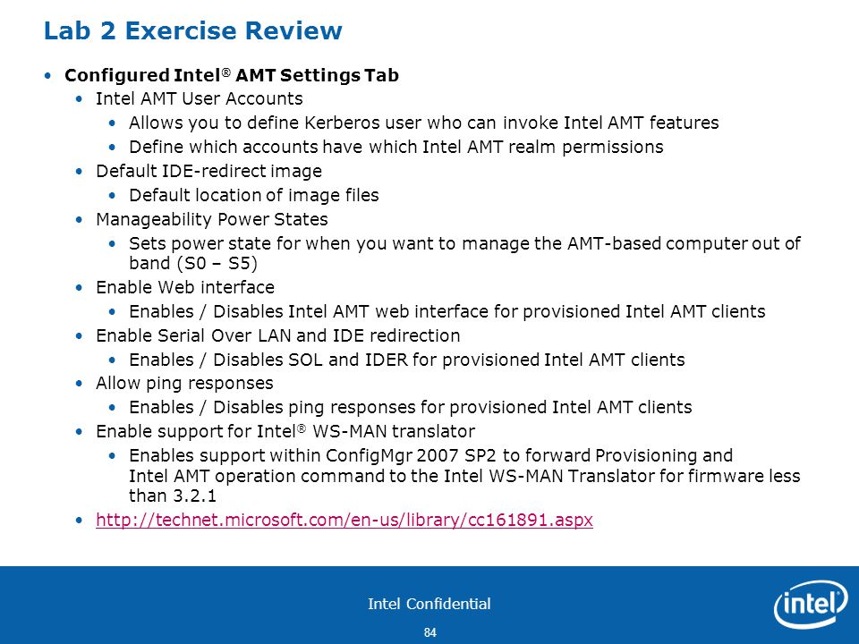 Lab 2 Exercise Review Configured Intel® AMT Settings Tab