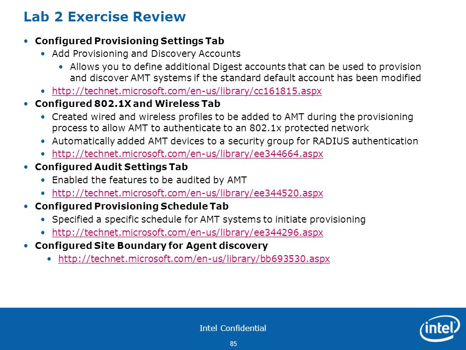 Lab 2 Exercise Review Configured Provisioning Settings Tab