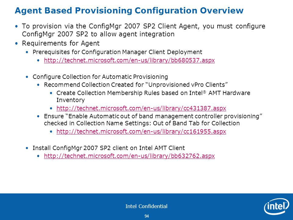 Agent Based Provisioning Configuration Overview