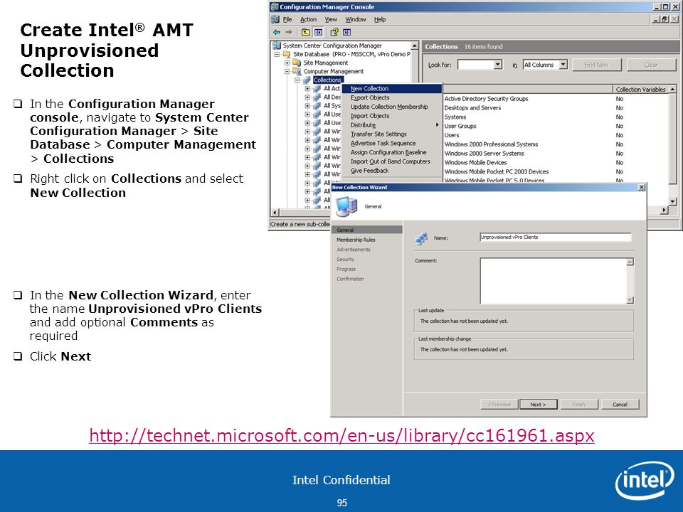 Create Intel® AMT Unprovisioned Collection