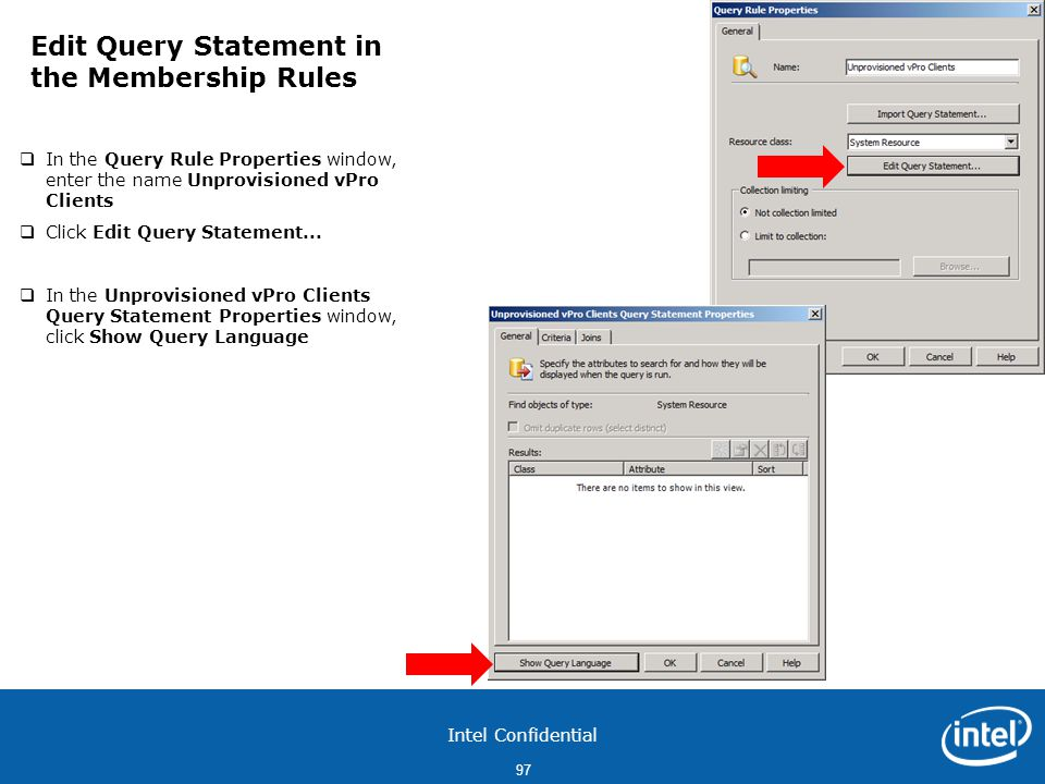Edit Query Statement in the Membership Rules