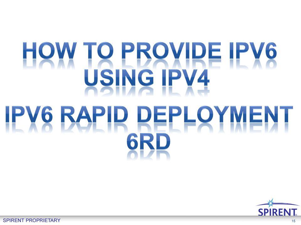 How to provide Ipv6 Using Ipv4 IPv6 Rapid Deployment 6rd