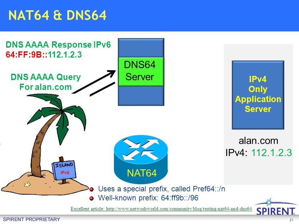 NAT64 & DNS64 DNS64 Server alan.com IPv4: 112.1.2.3 Stress Testing