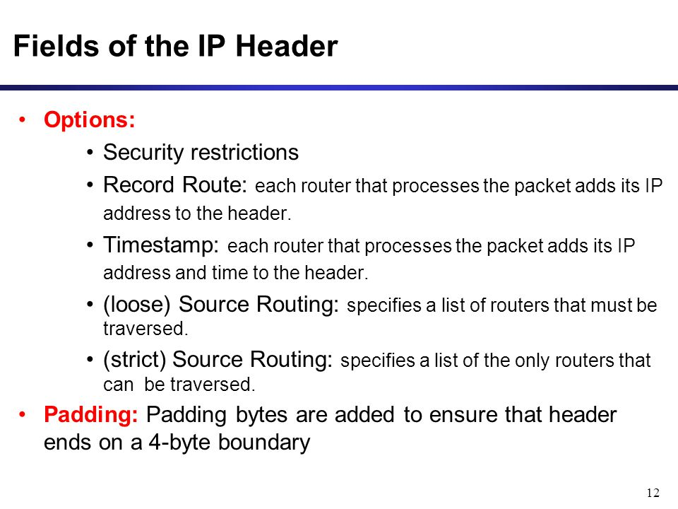 Fields of the IP Header Options: Security restrictions