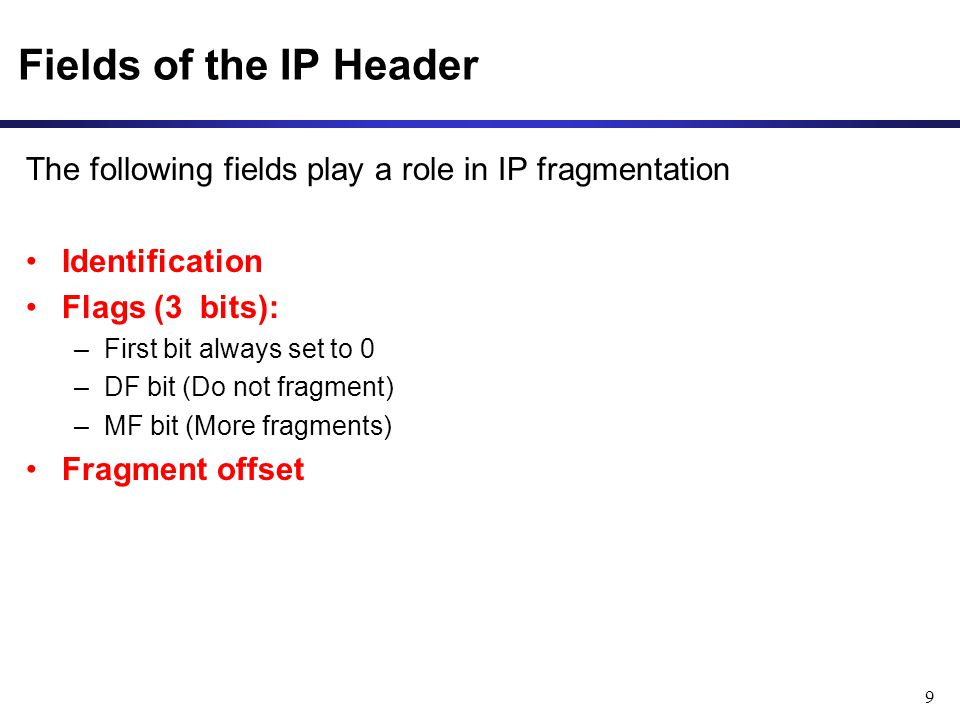 Fields of the IP Header The following fields play a role in IP fragmentation. Identification. Flags (3 bits):