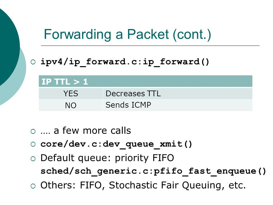 Forwarding a Packet (cont.)