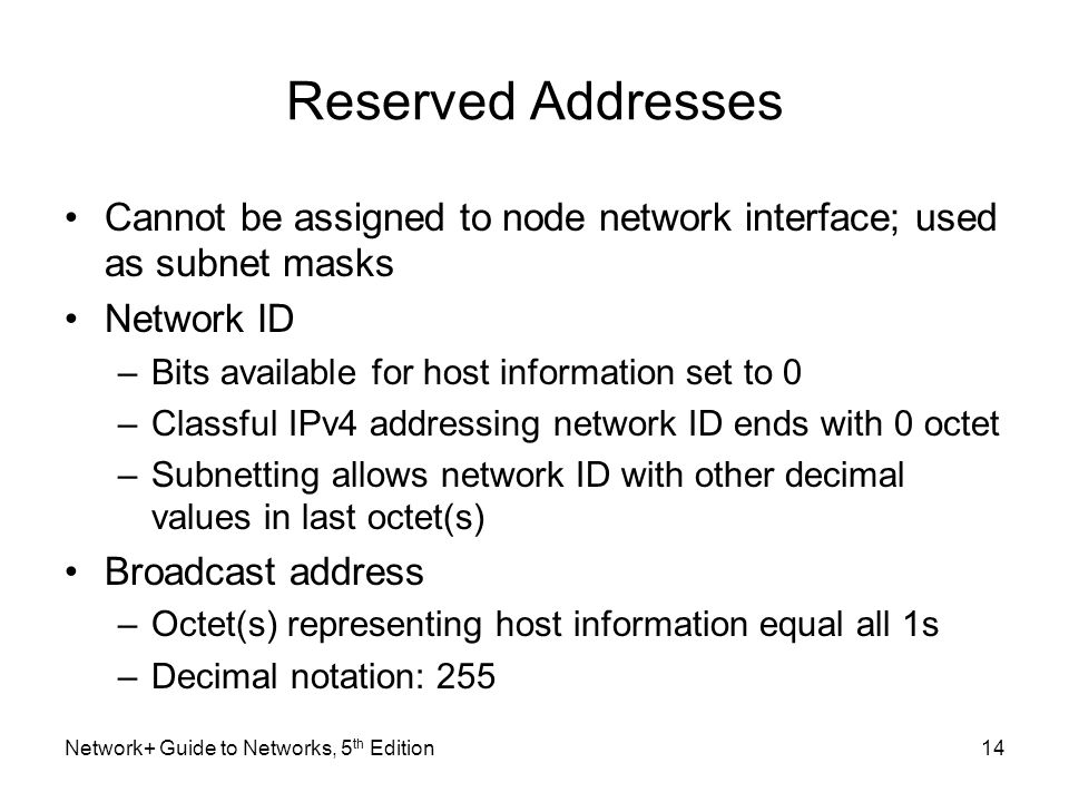 Reserved Addresses Cannot be assigned to node network interface; used as subnet masks. Network ID.