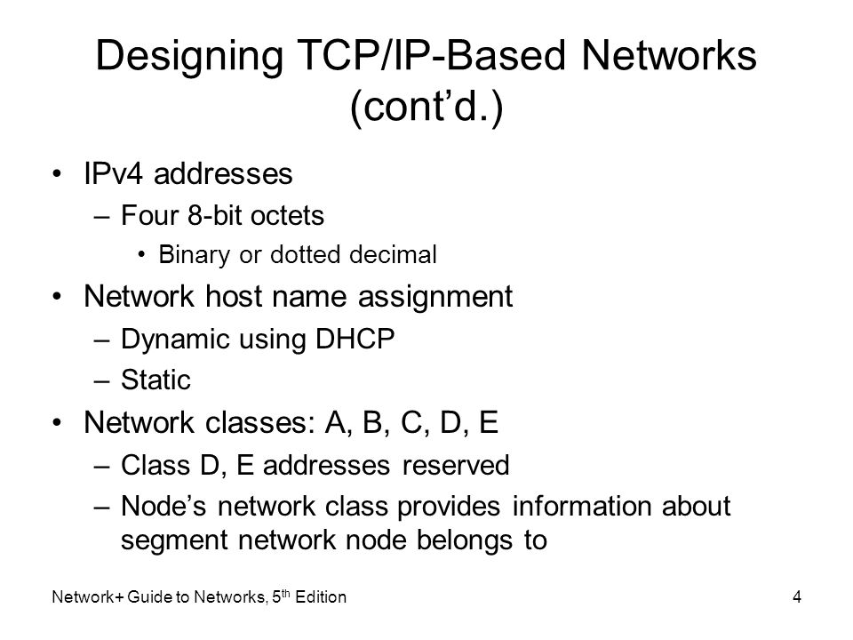 Designing TCP/IP-Based Networks (cont'd.)