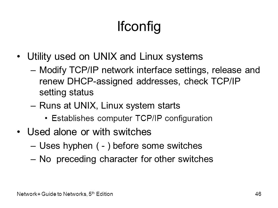 Ifconfig Utility used on UNIX and Linux systems