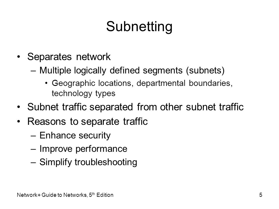 Subnetting Separates network