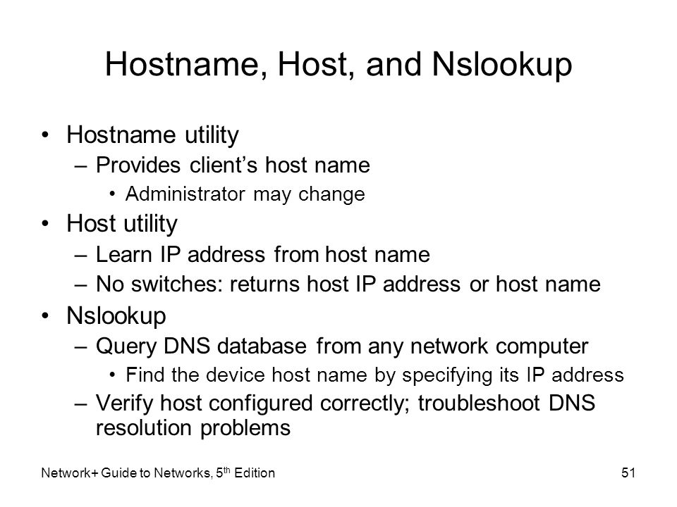 Hostname, Host, and Nslookup
