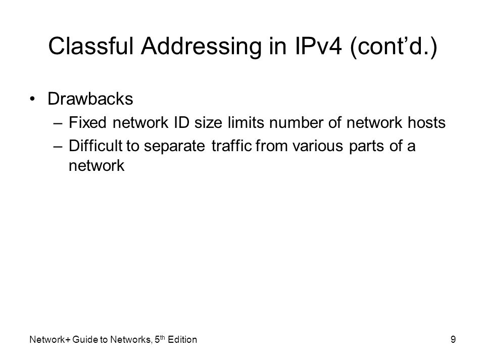 Classful Addressing in IPv4 (cont'd.)