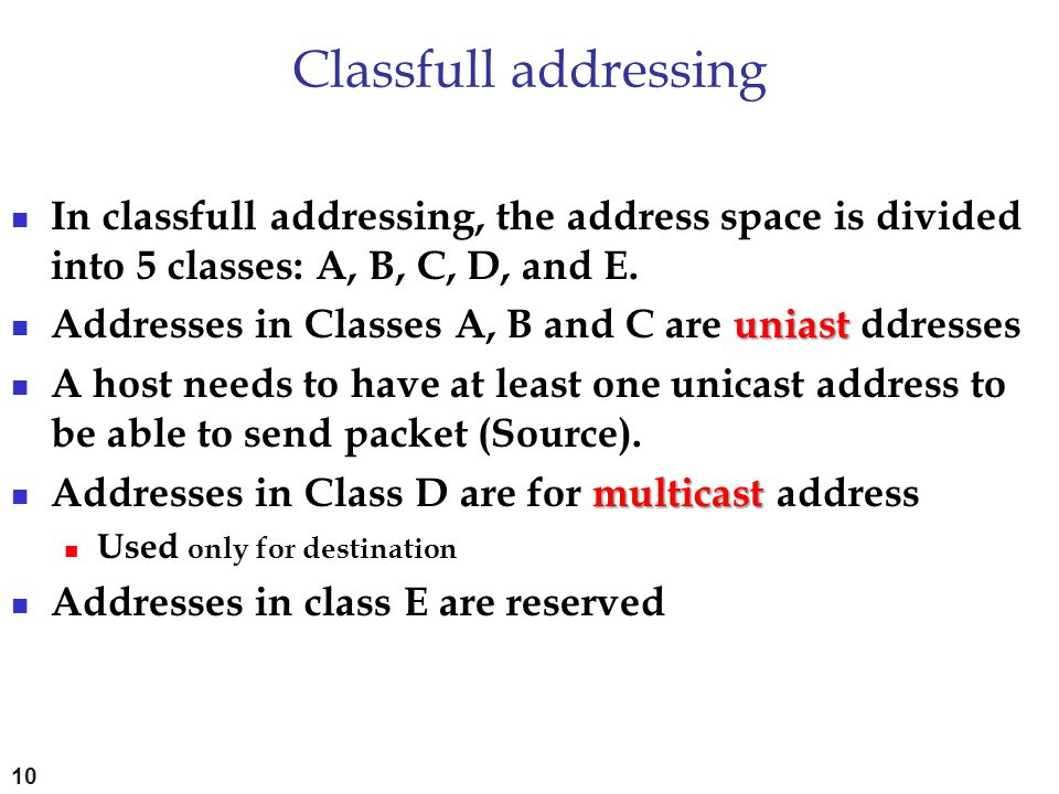 Classfull addressing In classfull addressing, the address space is divided into 5 classes: A, B, C, D, and E.
