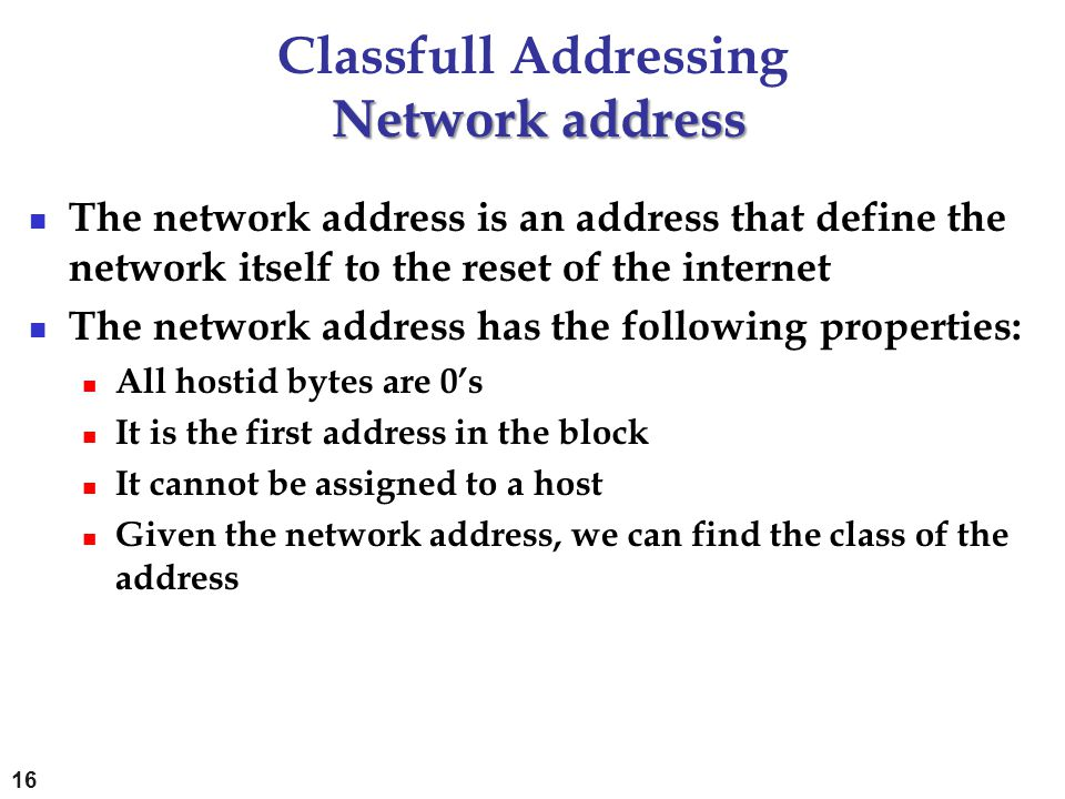 Classfull Addressing Network address