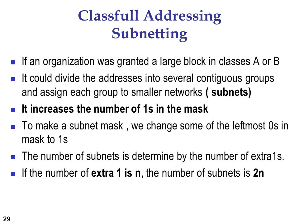Classfull Addressing Subnetting