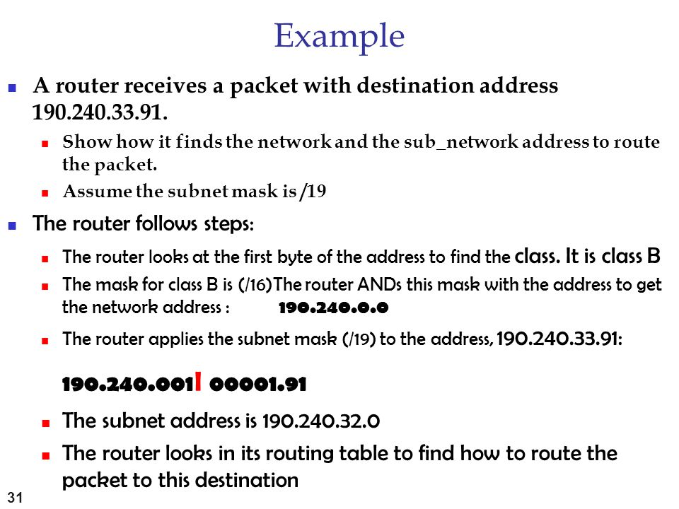 Example A router receives a packet with destination address 190.240.33.91.