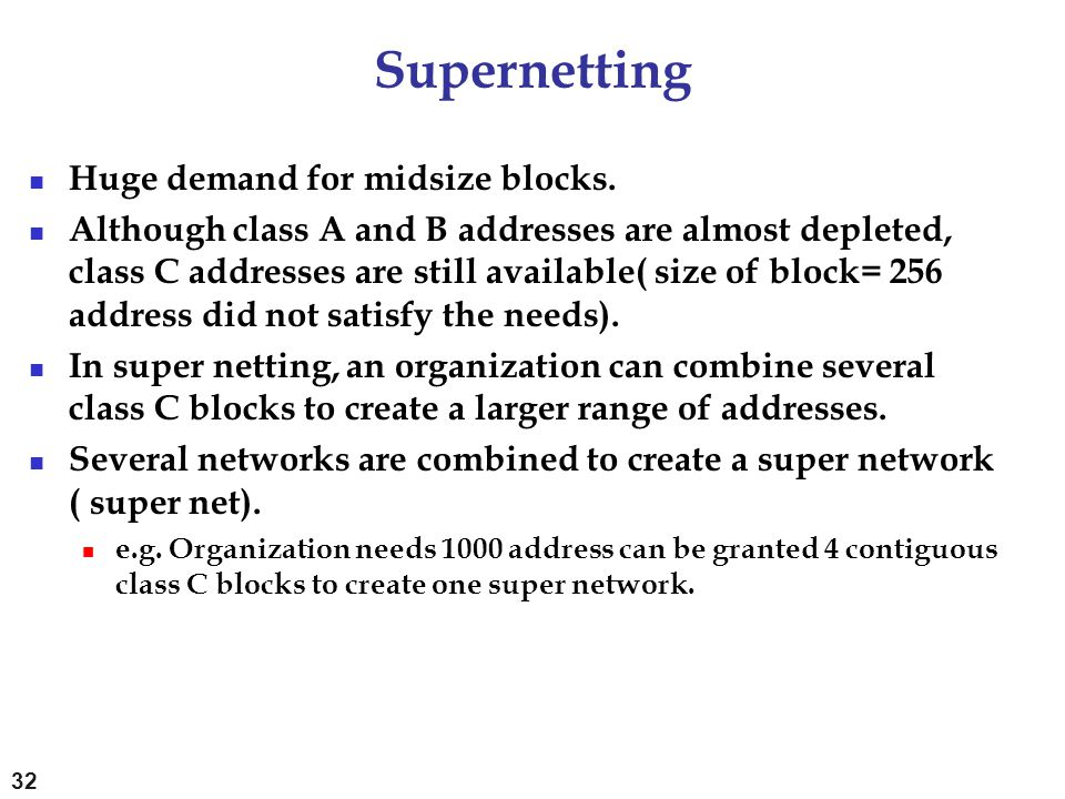Supernetting Huge demand for midsize blocks.
