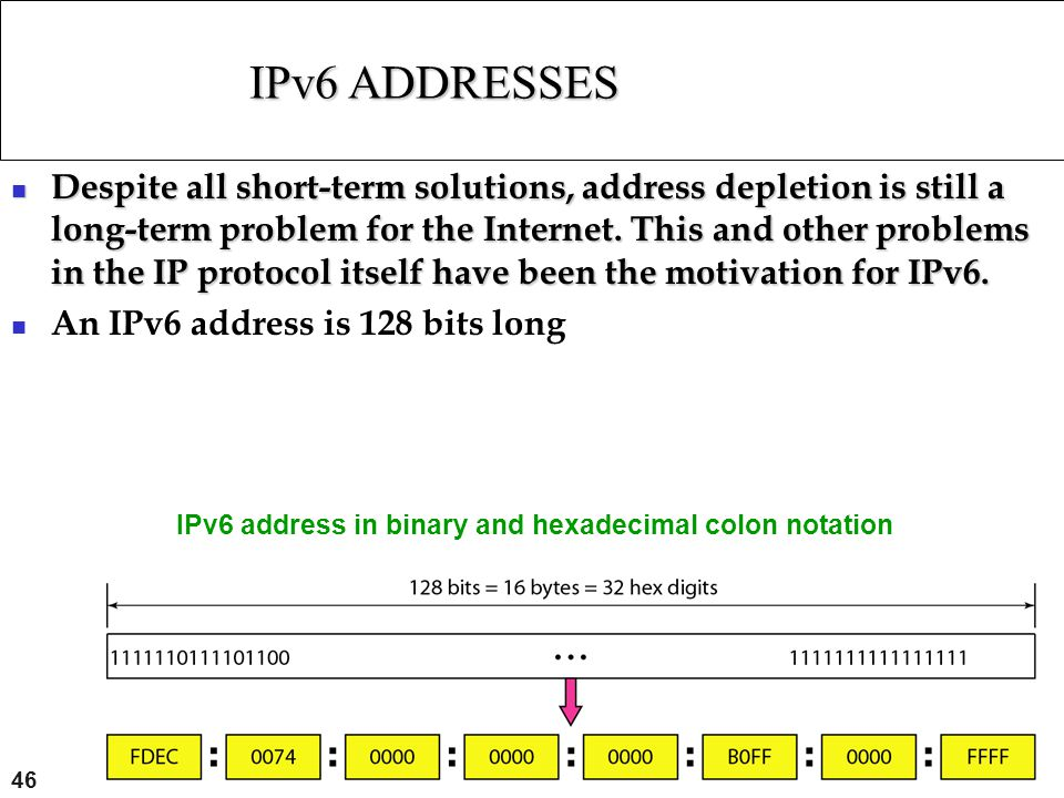 IPv6 ADDRESSES IPv6 address in binary and hexadecimal colon notation